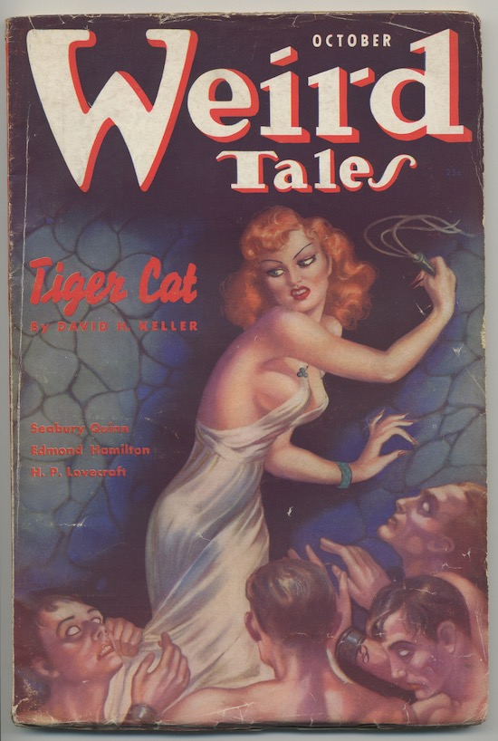 Image for WEIRD TALES.  October, 1937. Contains H.P. Lovecraft's—'THE SHUNNED HOUSE', with the famous Virgil Finlay illustration which was reproduced as the cover on the Arkham House volume, MARGINALIA.  One of eight issues of WEIRD TALES available.