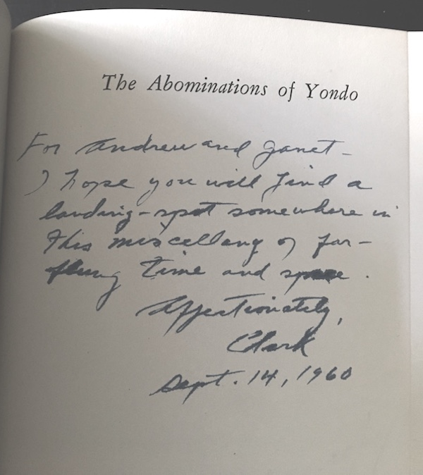 Image for CLARK ASHTON SMITH:THE ABOMINATIONS OF YONDO. Arkham House, 1960.—SIGNED, INSCRIBED, ASSOCIATION COPY TO LONGTIME FRIEND!