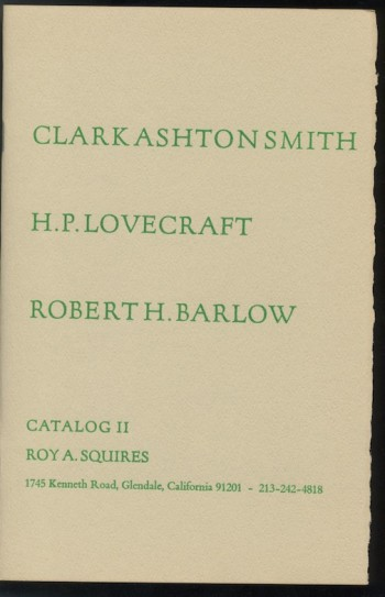 Image for CATALOG 2: CLARK ASHTON SMITH, H.P. LOVECRAFT, ROBERT H. BARLOW