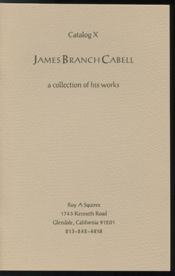 Image for CATALOG X: JAMES BRANCH CABELL a collection of his works