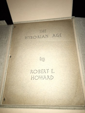 Image for ROBERT E. HOWARD: THE HYBOREAN AGE. 1938, LANY PUBLICATIONS. First Printing, [100 copies]. In Gray Parrot chemise and tray-case.