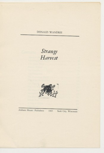 Image for STRANGE HARVEST—Galley proofs of the entire book!  Arkham House, 1965.