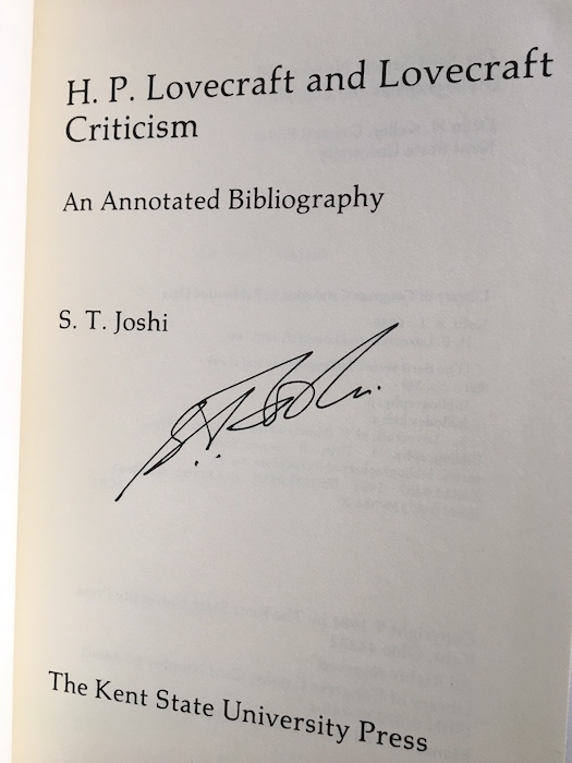 Image for H.P. LOVECRAFT: AN ANNOTATED BIBLIOGRAPHY. Kent State University Press, Kent, Ohio, 1981. Signed by Joshi.