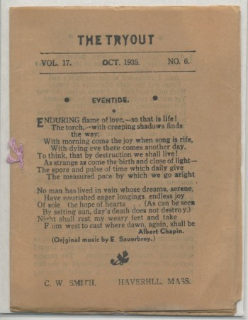 Image for THE TRYOUT.  Oct., 1935. Vol. 17, No. 6.