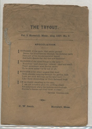 Image for THE TRYOUT.  Aug., 1917. Vol. 3, No. 9.