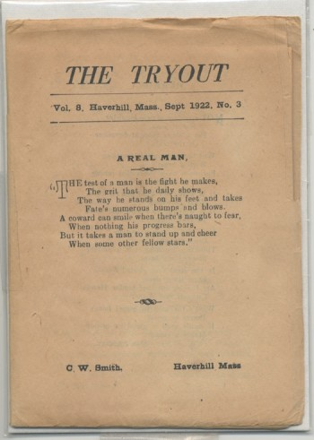 Image for THE TRYOUT.  Sept., 1922. Vol. 8, No. 3.