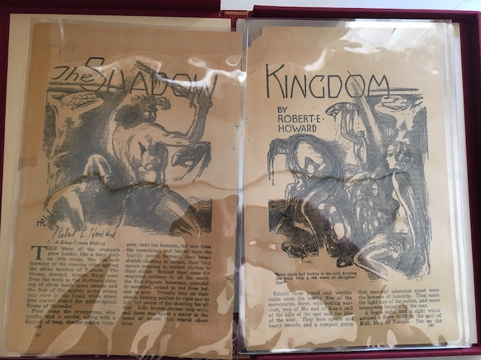 Image for THE SHADOW KINGDOM—WEIRD TALES tear sheets, August 1929.  Signed by ROBERT E. HOWARD