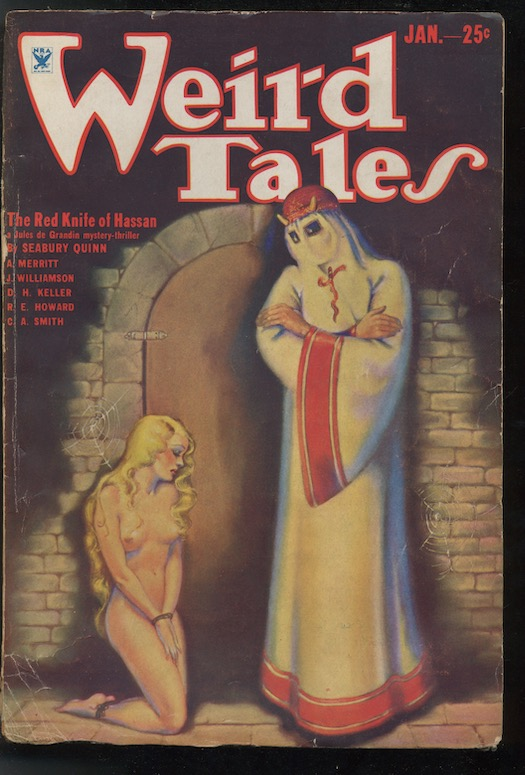 Image for WEIRD TALES.  January, 1934.  Featuring the CONAN tale, Rogues In the House.  Also includes, Clark Ashton Smith's—Weaver in the Vault, with his own illustration.