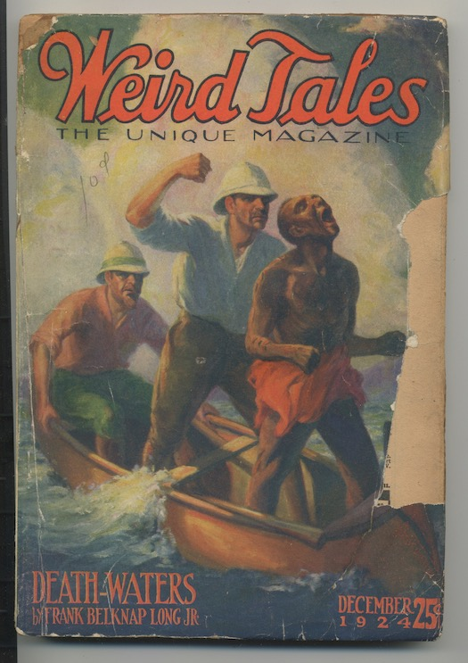 Image for WEIRD TALES.   December 1924.  DEATH-WATERS by Frank Belknap Long, makes its first appearance.  Long's second appearance in WT.