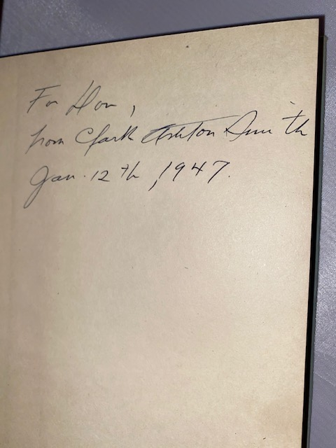 "Image for LOST WORLDS.  Arkham House, Sauk City, 1944. [First edition].  Signed, inscribed to collaborator, ""Don [Carter] Jan. 12th, 1947"" .  A talented painter, Carter's wife Natalie,  did the portrait of Smith that was reproduced on the dust-wrapper of Arkham House's—SELECTED LETTERS.  A beautiful copy in d.j.  Seldom found in this condition."