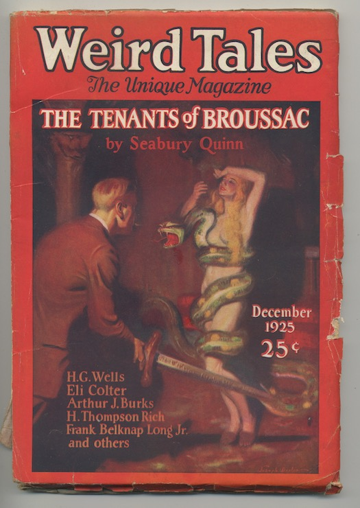 Image for WEIRD TALES.  December, 1925.  Features a Jules de Grandin, cover story, THE TENANTS OF BROUSSAC by Seabury Quinn; also THE SEA THING by Frank Belknap Long, Jr., WHEN THE GRAVES WERE OPENED by Arthur J. Burks.