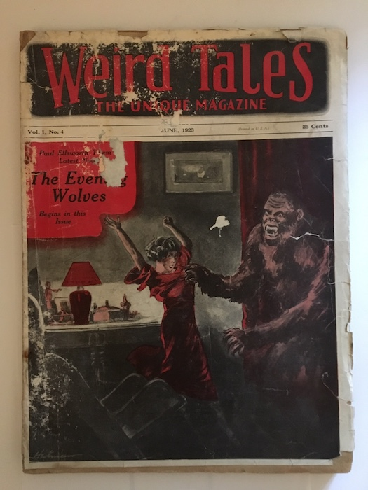 Image for WEIRD TALES. June, 1923.    Featuring cover story—THE MURDERS IN THE RUE MORGUE— by EDGAR ALLEN POE, also THE PHANTOM WOLFHOUND, by Otis Adelbert Kline, and  part 2, the concluding half of THE MOON TERROR by A.G. Birch.