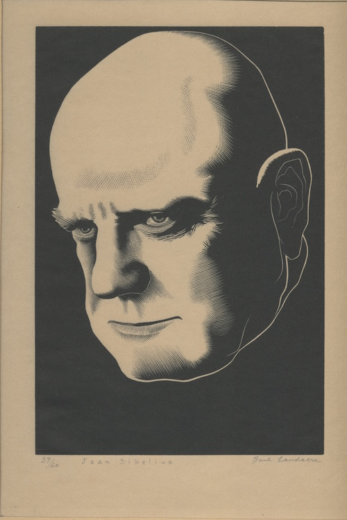 Image for JEAN SIBELIUS Only 60 numbered copies of this 1920 print. SIGNED by the artist Paul Landacre!
