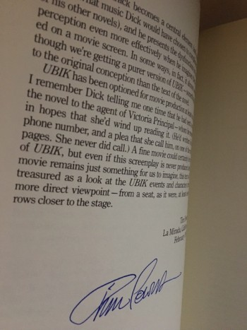 Image for PHILIP K. DICK—UBIK: THE SCREENPLAY.  SIGNED BY 