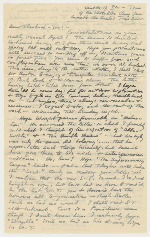 Image for H.P. LOVECRAFT: HOLOGRAPH LETTER. TO CLARK ASHTON SMITH. April 20, 1932.  2-pages, 550 Words. A.L.s. w/Signed Envelope.  SOLD!