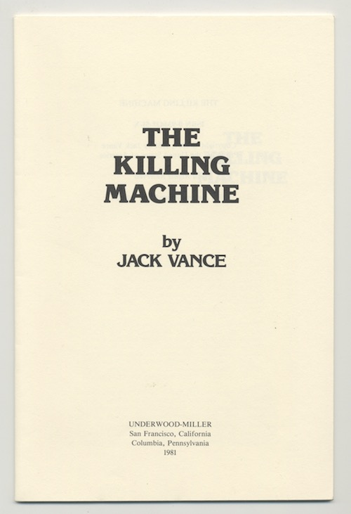 Image for ONLY PROOF COPY!—THE KILLING MACHINE: JACK VANCE: